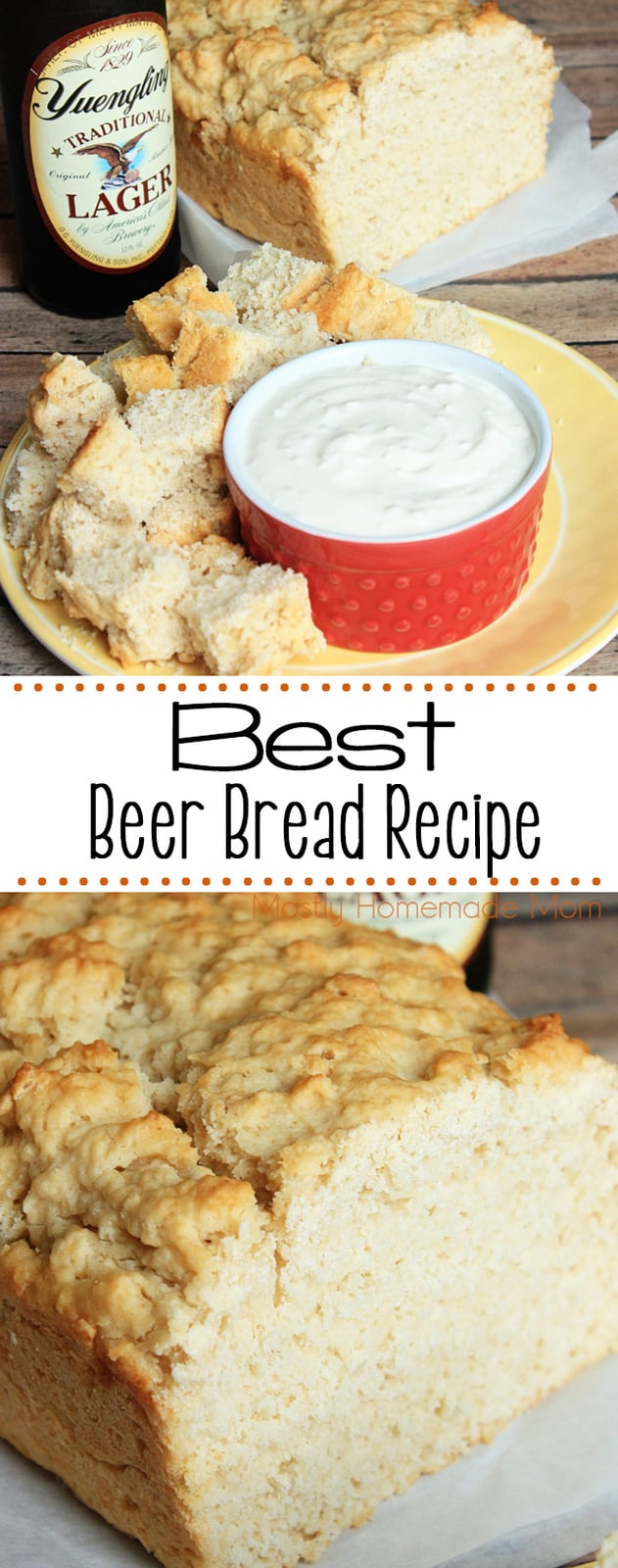 Beer Bread Recipe - just flour, sugar, beer, and melted butter - goes perfect with a simple garlic or onion dip! Great for your next party appetizer! #beerbread #appetizer #recipe #gameday