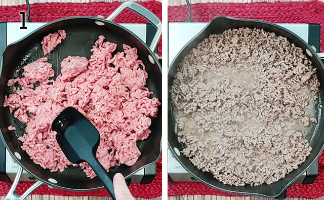 Browning ground beef in a skillet
