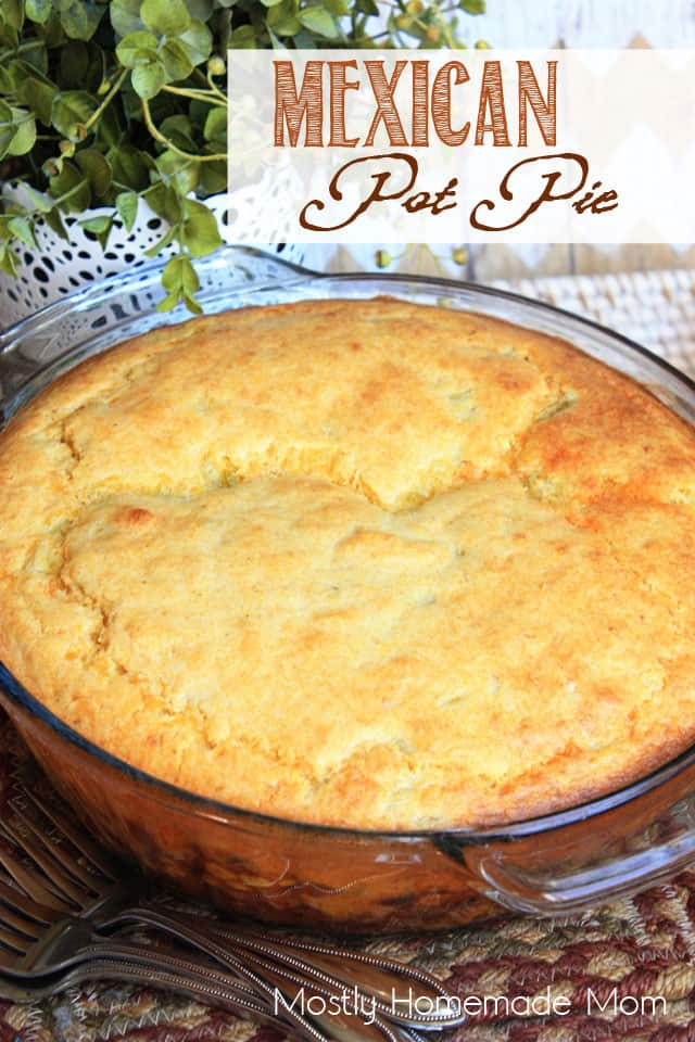 Mexican pot pie in a glass dish