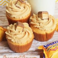 SNICKERS® Stuffed Peanut Butter Cupcakes