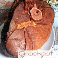 Brown sugar ham on a white platter
