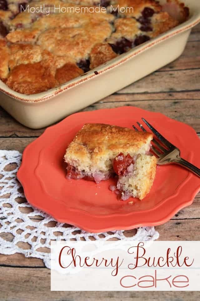 Cherry Buckle Cake with a slice on a plate with a fork