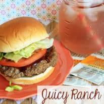 Juicy Ranch Cheddar Burgers – with Perfect Peach Iced Tea!