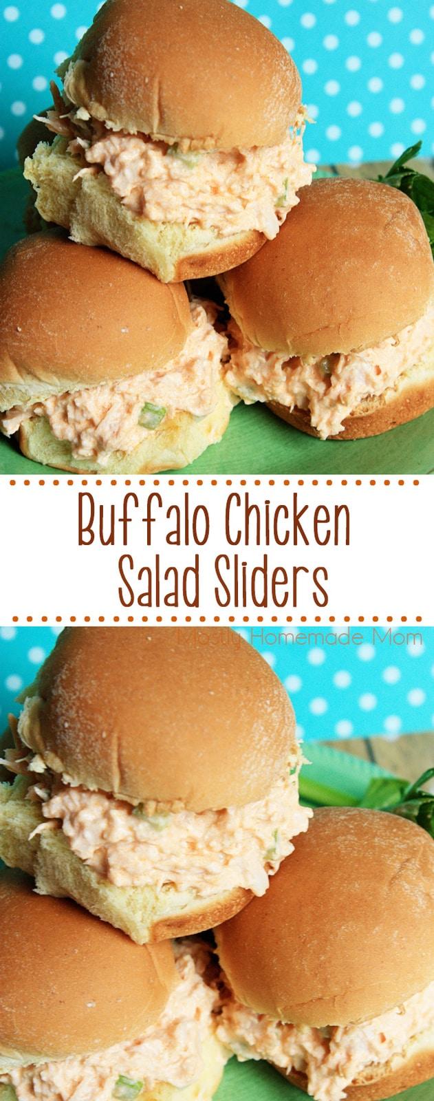 Buffalo Chicken Salad - cooked chicken, hot sauce, diced celery, and seasonings. Served over Hawaiian dinner rolls! #buffalochicken #chickensalad #sliders #lunch #gameday #recipe