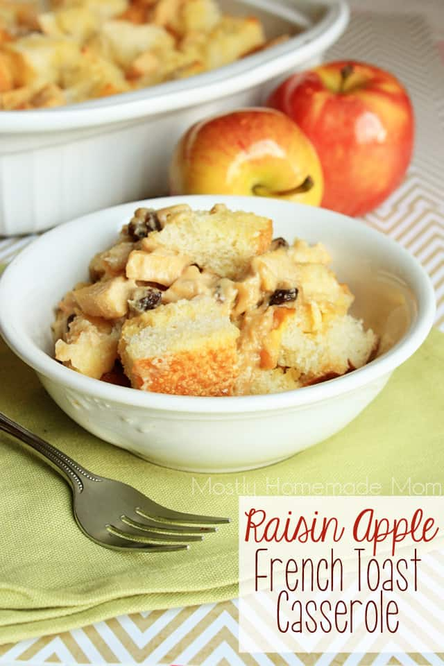 Raisin Apple French Toast Casserole in a white bowl with a fork next to it