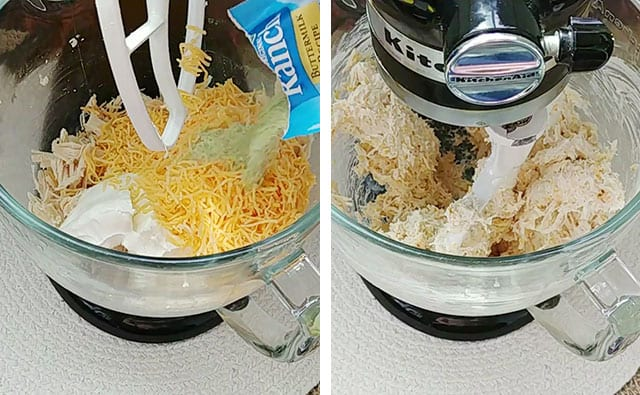 Mixing chicken filling ingredients in a stand mixer