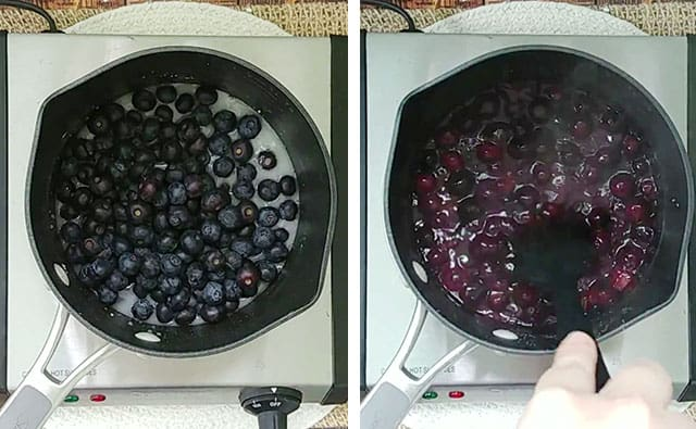 Cooking blueberries in a syrup mixture in a saucepan