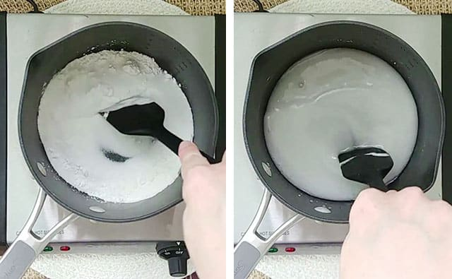 Stirring together sugar, cornstarch, and water in a saucepan over a skillet