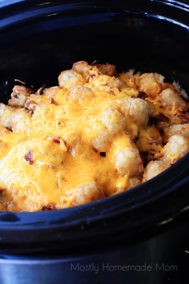 Chicken tater tot casserole in a crockpot