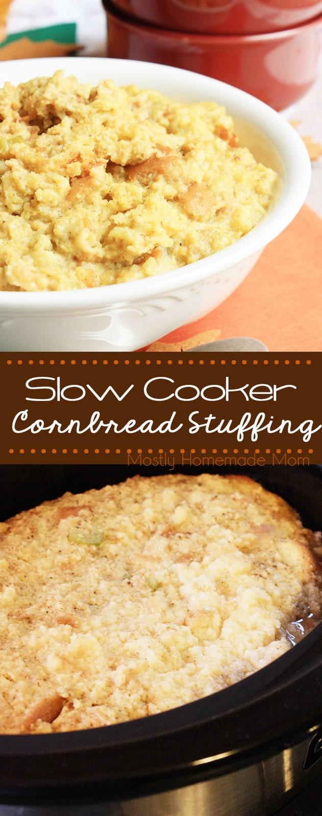Crockpot Stuffing is perfect to free up the oven for Thanksgiving dinner! Cornbread stuffing, potato bread, celery, and sage - such an easy side dish! #sidedish #Thanksgiving #Christmas #recipe #cornbreadstuffing #dressing