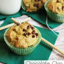 Three avocado muffins on green napkins