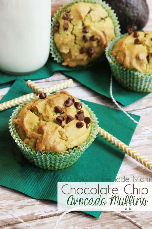 Three avocado muffins on green napkins