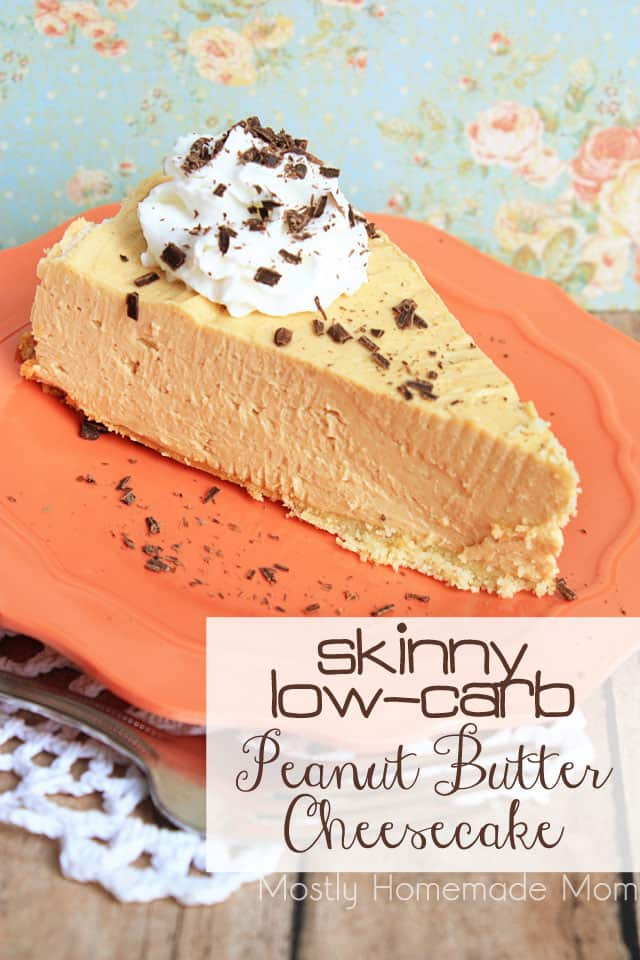 Low carb peanut butter cheesecake slice on a plate