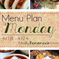 Menu Plan 4/18