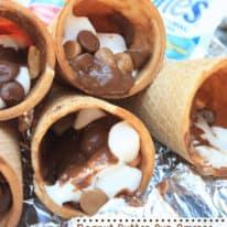 Peanut Butter Cup Smores Campfire Cones
