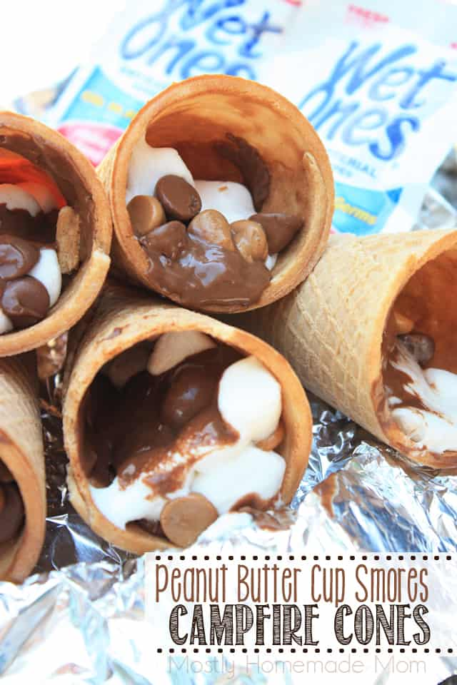 Peanut Butter Cup Smores Campfire Cones recipe with reeses peanut butter cups