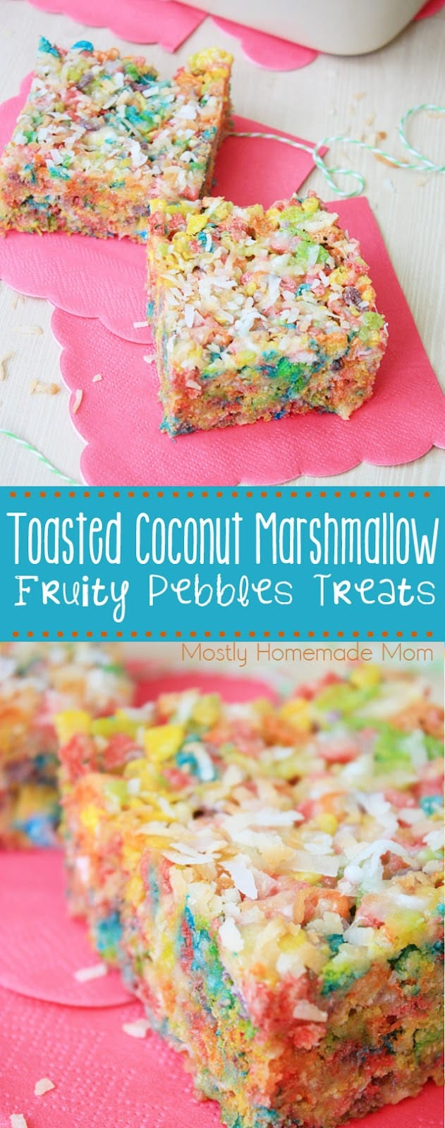 Fruity Pebbles Treats are filled with melted marshmallow, coconut pudding, and toasted coconut - the perfect lunch box snack! #lunch #lunchbox #recipe #fruitypebblestreats #dessert