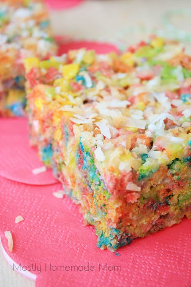 A close up photo of a fruity pebbles treat