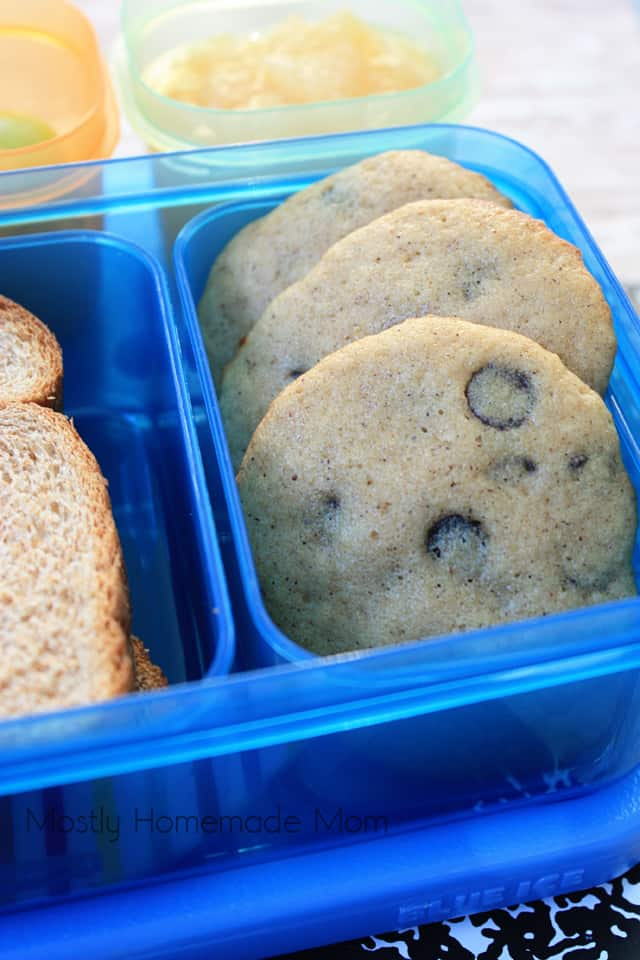 Chocolate Chip Applesauce Cookies in a bento box for kids