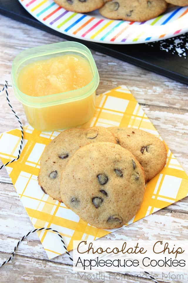 Chocolate Chip Applesauce Healthy Cookies recipe for lunch boxes