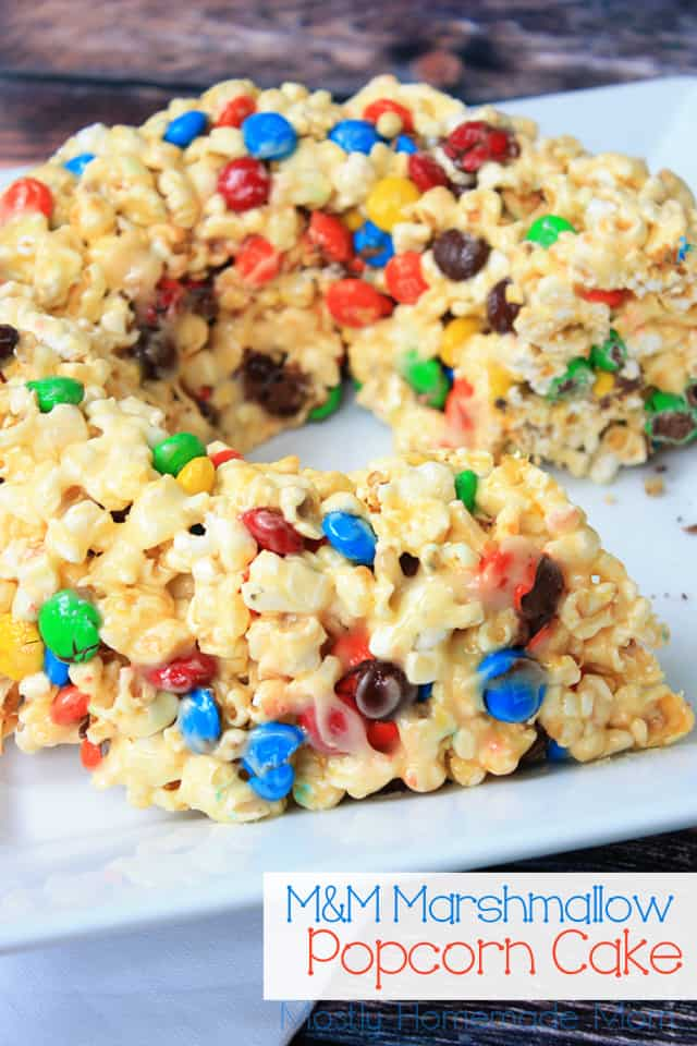 M&M Marshmallow Popcorn Cake recipe for popcorn balls