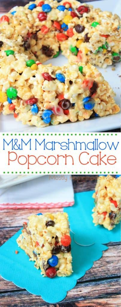 M&M Marshmallow Popcorn Cake with popcorn balls