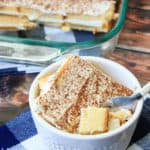 A small dish of easy tiramisu with a full pan in the background