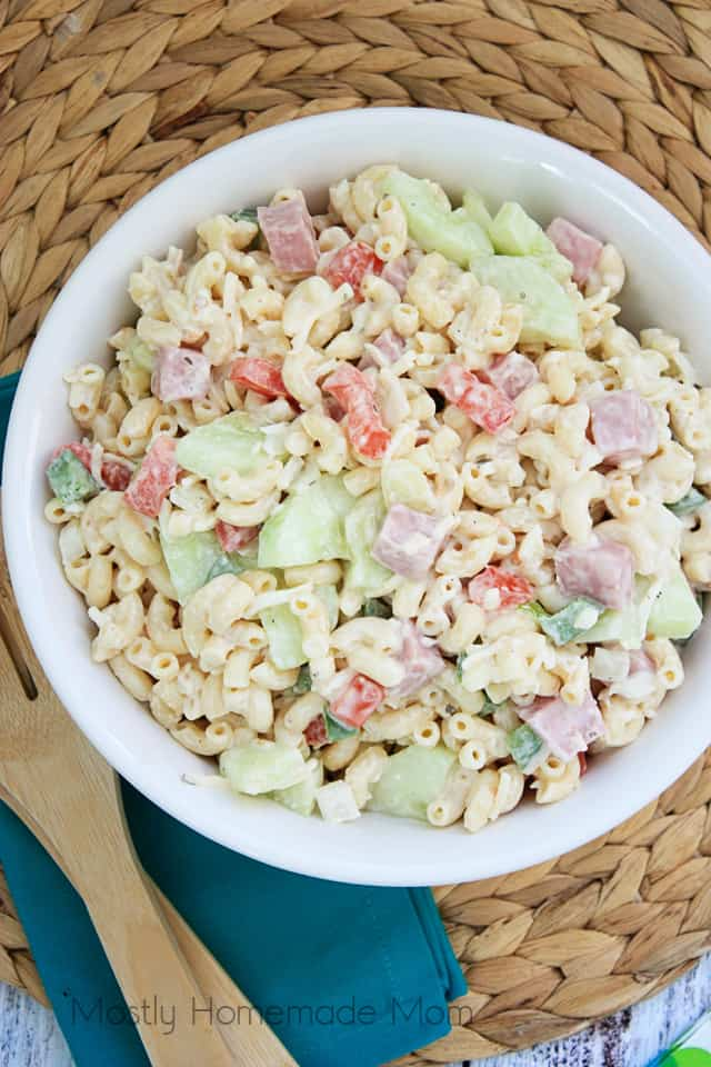 Ham and Cheese Macaroni Salad with ham
