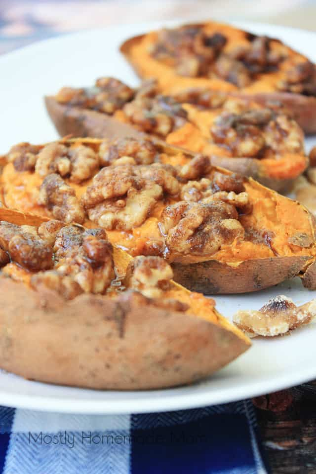 Maple Walnut Roasted Sweet Potato Skins