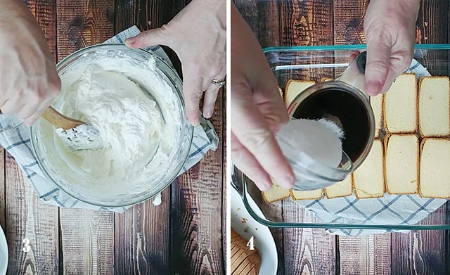 Folding in cool whip to the mixture and then combining coffee and sugar in a measuring cup