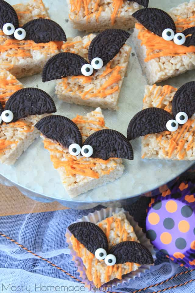 Spooky Bat Halloween Rice Krispie Treats - Mostly Homemade Mom