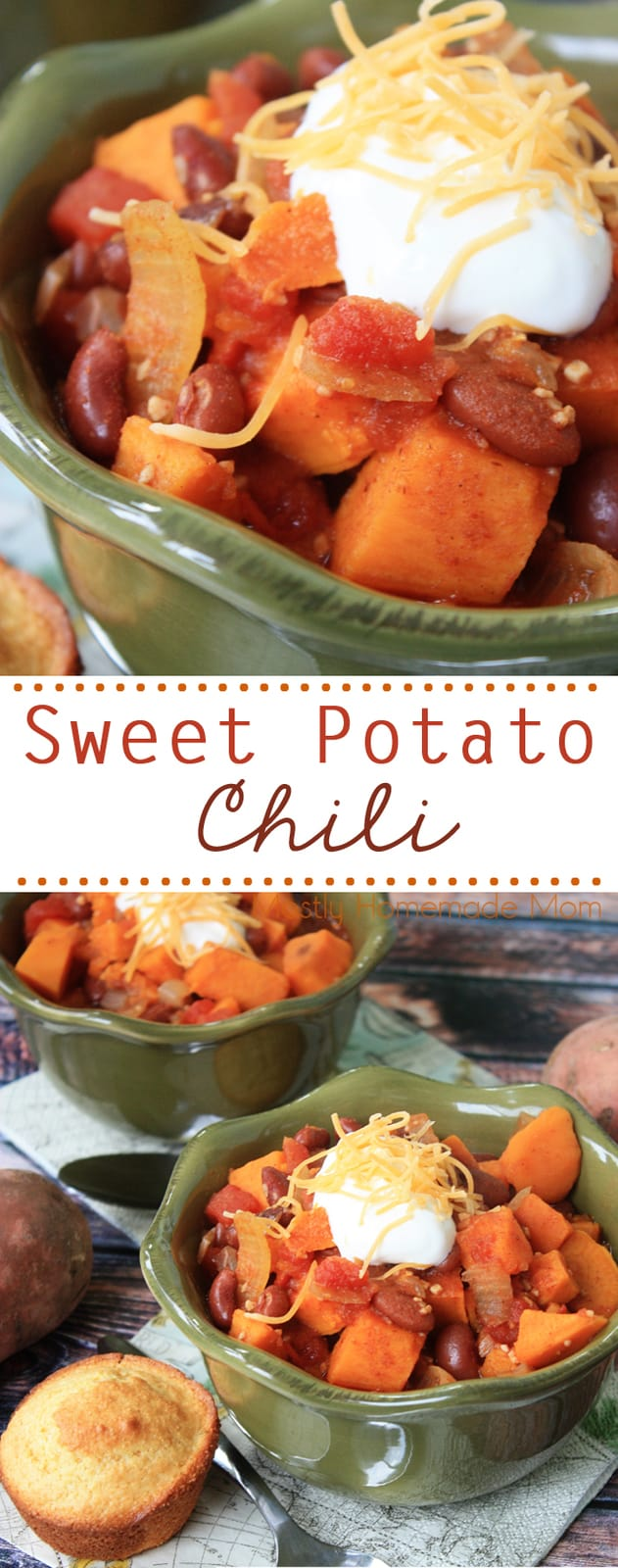 Crockpot Sweet Potato Chili is the perfect meatless chili recipe! Diced sweet potatoes, tomatoes, beans, and spices - be sure to serve this with some yummy cornbread! #vegetarian #paleo #recipe #chili #crockpot #slowcooker