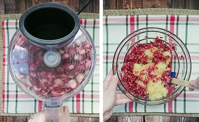 Cranberries in a food processor and then being mixed with pineapple