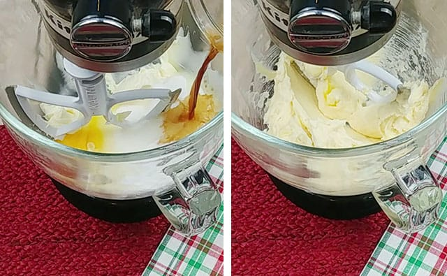 Mixing in sugar, egg, and vanilla in a stand mixer