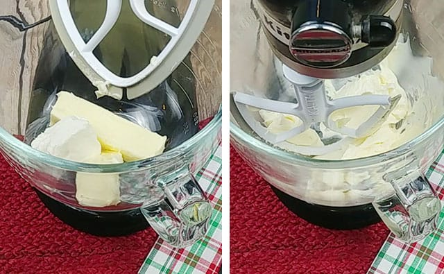 Mixing butter and cream cheese in a stand mixer bowl