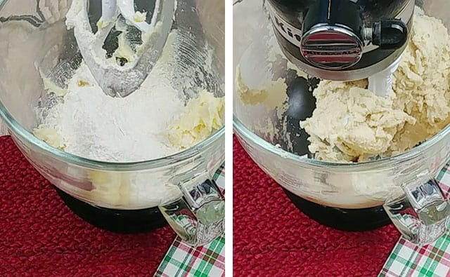 Mixing in flour in a stand mixer to make cookie dough