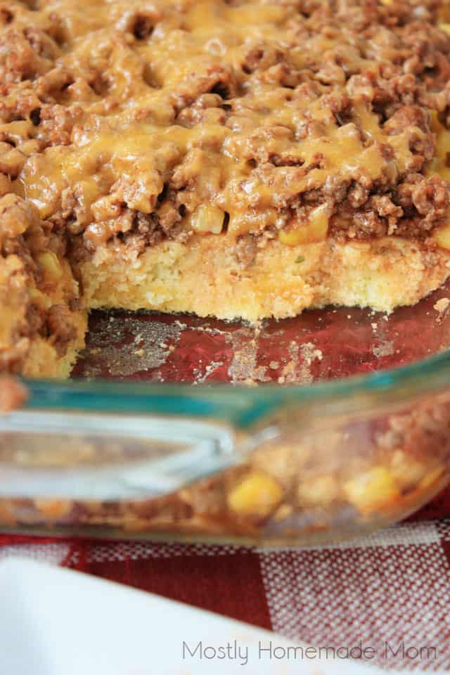 Sloppy Joe Cornbread Casserole in a glass baking dish
