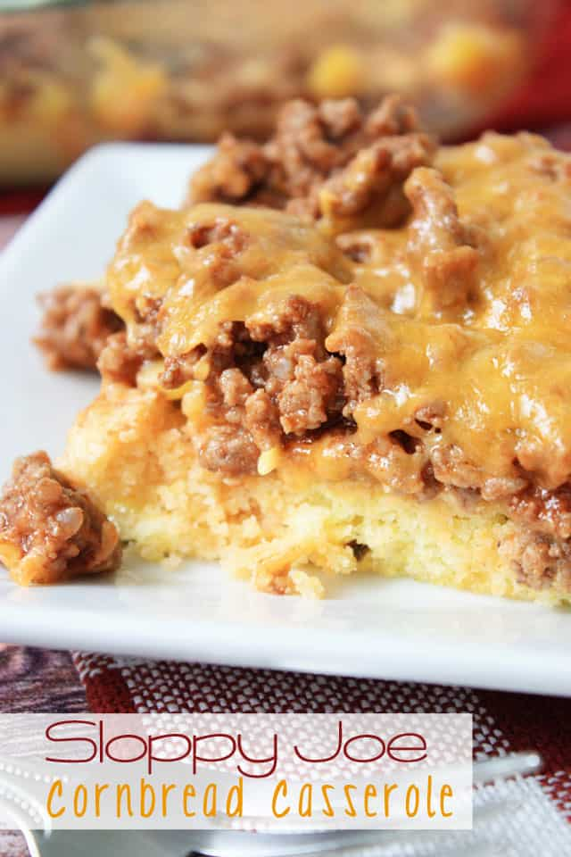 A slice of sloppy joe cornbread casserole on a white plate