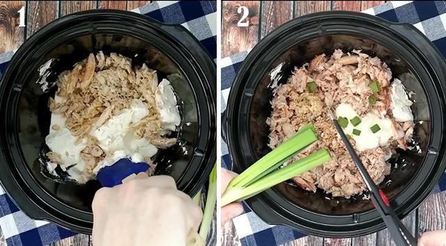 Hot crab dip in crockpots showing each ingredient