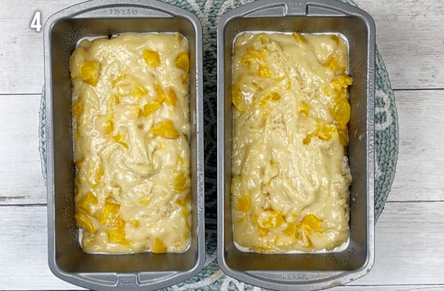 Peach bread batter in loaf pans ready for baking