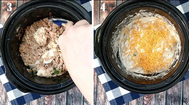 Stirring the crab dip in a slow cooker and adding cheese