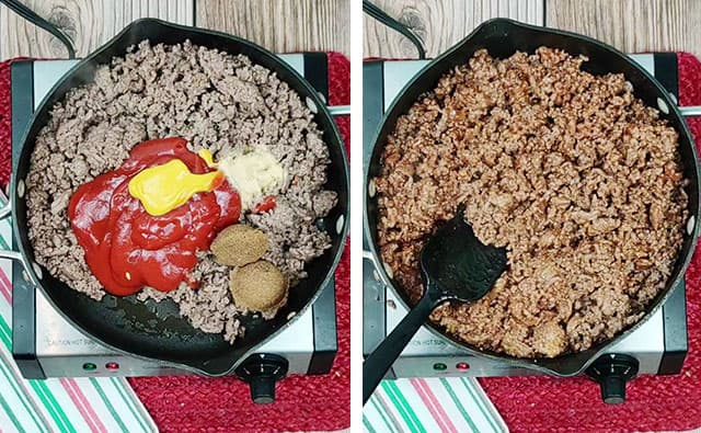 Mixing beef, ketchup, mustard, brown sugar, and garlic in a skillet