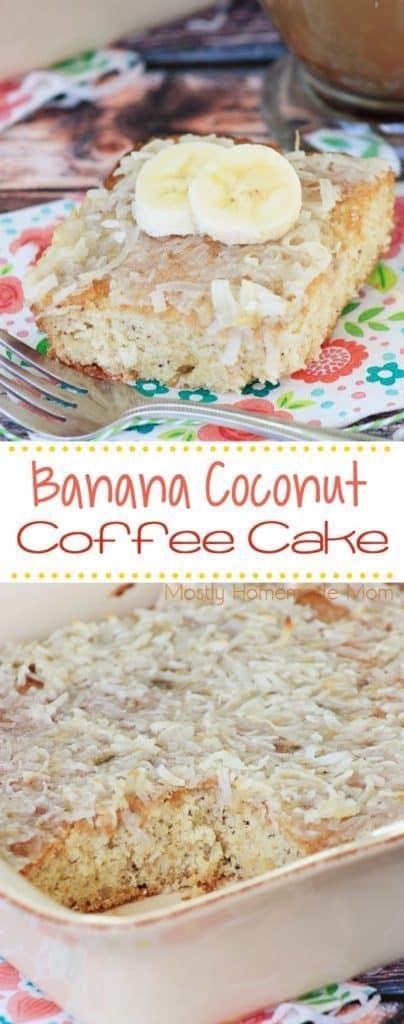 Banana Coconut Easy Coffee Cake Recipe