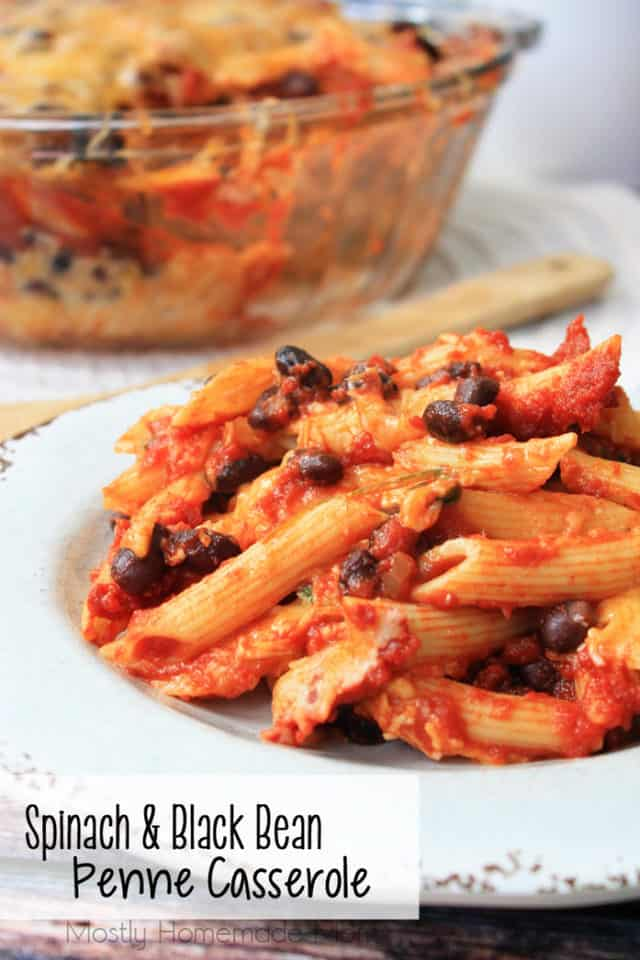Spinach and Black Bean Penne Casserole