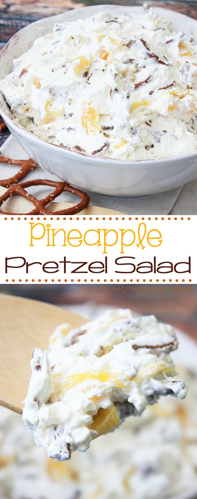 Pineapple Pretzel Salad - the perfect blend of salty and sweet! Thin pretzels mixed with cream cheese, whipped cream, and pineapple chunks.