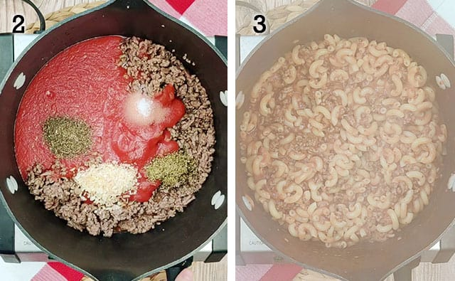 Adding in tomato sauce and macaroni noodles to ground beef in pan