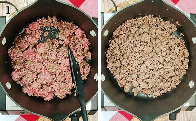 Browning and draining ground beef in a pan