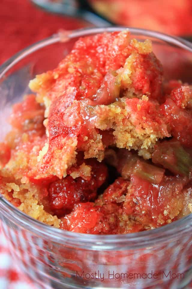 rhubarb cobbler made with cake mix