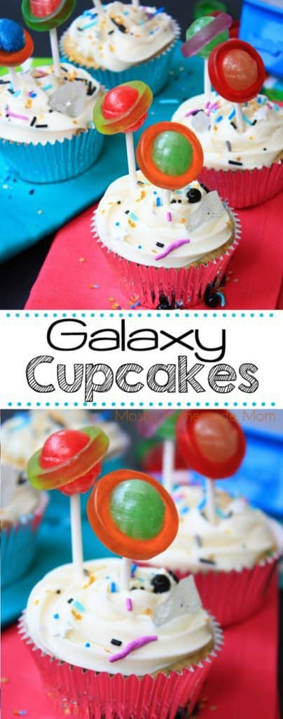 Galaxy cupcakes with lollipops