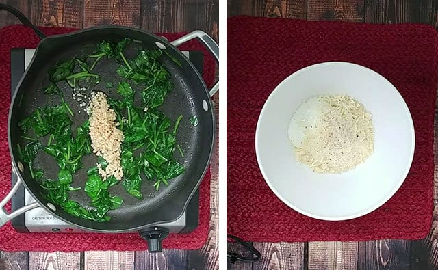 Spinach cooking in a skillet and stuffing ingredients in a white bowl next to it